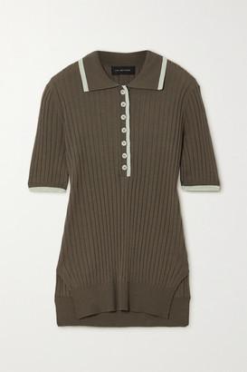 Lee Mathews Ribbed Tencel Polo Shirt - Army green