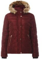 Dorothy Perkins Womens Mulberry Fur Hood Padded Jacket- Red