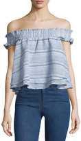 Romeo & Juliet Couture Off-the-Shoulder Smocked Top, Blue Pattern