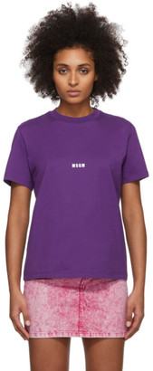 MSGM Purple Micro Logo T-Shirt