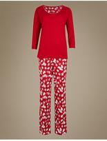 M&S Collection Pure Cotton Christmas Print 3/4 Sleeve Pyjamas