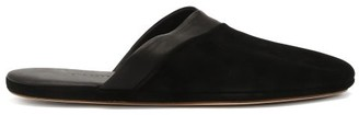 John Lobb Knighton Leather-trimmed Suede Slippers - Black