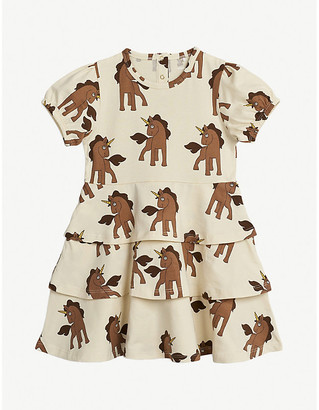 Mini Rodini Unicorn-print organic cotton dress 4-11 years