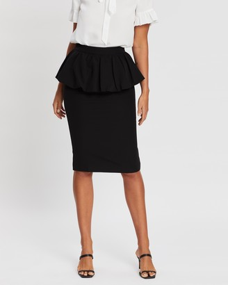 Atmos & Here Atmos&Here - Women's Black Pencil skirts - Charlotte Peplum Skirt - Size 6 at The Iconic