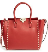 Valentino 'Rockstud' Leather Double Handle Tote