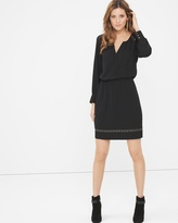 White House Black Market Long-Sleeve Studded Black Boho Dress