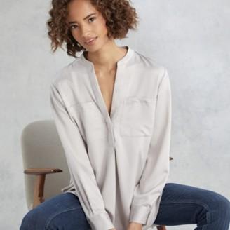 The White Company Satin Pocket Shirt , Mink, 6