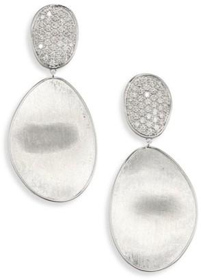 Marco Bicego Lunaria Medium Diamond & 18K White Gold Double-Drop Earrings