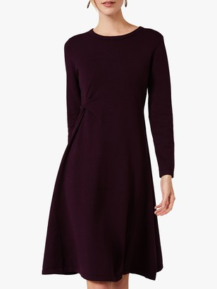 Phase Eight Maeva Flare Knee Length Dress, Blackcurrant