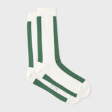 Paul Smith Men's Off-White And Green Mono-Stripe Socks
