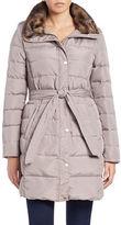 Ellen Tracy Faux Fur-Trimmed Belted Puffer Coat