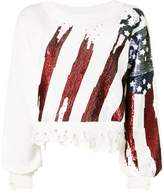Amen sequin-embellished distressed sweatshirt