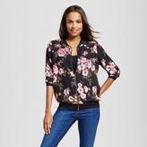 Como Black Women's Printed Floral Bomber Jacket