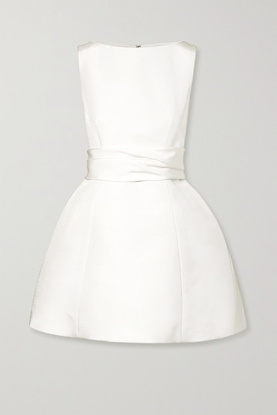 Brandon Maxwell Silk-faille Mini Dress - Ivory
