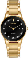 Citizen Women's Eco-Drive Diamond Accent Gold-Tone Stainless Steel Bracelet Watch 30mm GA1052-55G, Only at Macy's