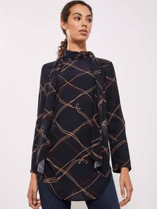 Mint Velvet Astrid Rope Print Tie Neck Tunic