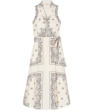Tory Burch Sleeveless Paisley Printed Poplin Wrap Dress