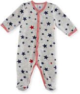 Petit Bateau Velour Star-Print Footie Pajamas, Size 1-9 Months