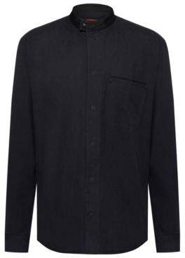 HUGO Relaxed-fit cotton shirt with press-stud stand collar
