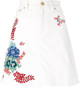 House of Holland embroidered denim skirt - women - Cotton/Spandex/Elastane - 12
