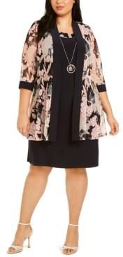 R & M Richards Plus Size Floral Mesh Jacket & Dress