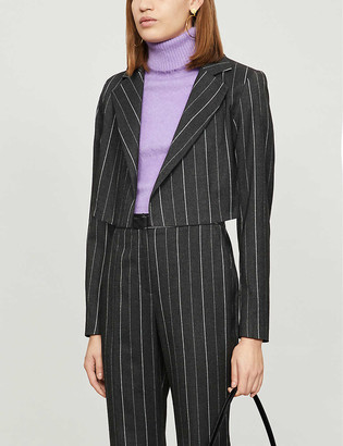 Topshop Pinstriped cropped woven jacket