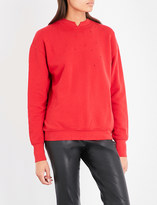 Helmut Lang Slash-neck cotton-jersey sweatshirt