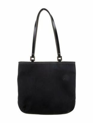 Fendi Leather-Trimmed Tote Bag Navy