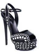 Roberto Cavalli Black And White Patterned Platform Pumps.