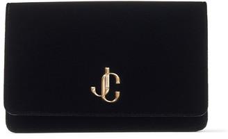 Jimmy Choo PALACE Black Velvet Chain Wallet with JC Logo