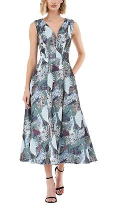 Kay Unger Sleeveless Printed Midi Dress