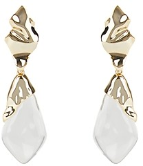 Alexis Bittar Crumpled Metal Lucite Detail Clip-On Earrings