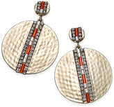 Thalia Sodi Gold-Tone Beaded Hammered Disc Drop Earrings, Only at Macy's