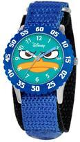 "Disney Agent P"" Kid's Time-Teacher Watch with Rotating Bezel - Blue Strap"