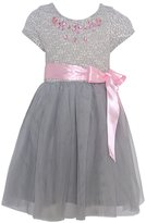 RMLA Little Girls Grey Pink Bejeweled Neckline Bow Sash Christmas Dress