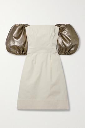 ARTCLUB Net Sustain Castello Convertible Lurex-trimmed Cotton-canvas Mini Dress - Beige