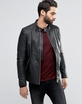 Religion Leather Jacket With Biker Sleeve Detail