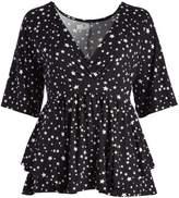 Glam Black & White Star Empire-Waist Layered Top - Plus