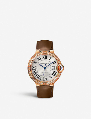 Cartier CRWJBB0060 Ballon Bleu de rose-gold, diamonds and leather watch
