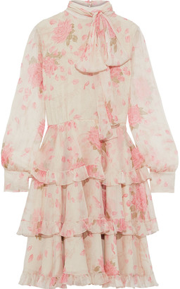 Valentino Pussy-bow Tiered Floral-print Silk-chiffon Dress