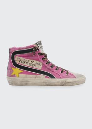 Golden Goose Mid-Top You Make Me Always Happy Canvas Sneakers