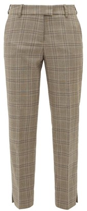 Cefinn - Slit-hem Prince Of Wales-check Tapered Trousers - Womens - Brown Multi