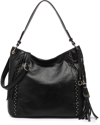 Style Strategy Women's Satchels Black - Black Studded Tassel-Accent Hobo
