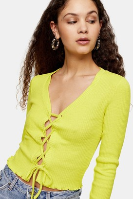 Topshop Womens Tall Lime Green Ribbed Lace Up Cardigan - Lime