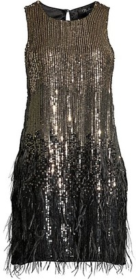 Parker Black Allegra Feather-Trim Sequin Dress