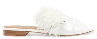 Malone Souliers Marina Feathered-embellished Satin Slides - White