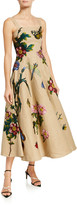 Oscar de la Renta Linen Midi Dress with Floral Applique