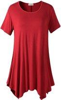Lanmo Womens Swing Tunic Tops Loose Fit Comfy Flattering T Shirt