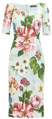Dolce & Gabbana Floral-print Cady Pencil Dress - Womens - Blue Print