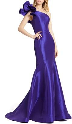 Mac Duggal One-Shoulder Rosette Taffeta Mermaid Gown